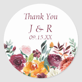 Burgundy Floral Favor Sticker