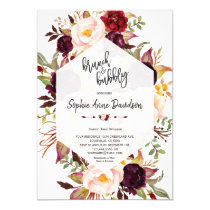 Burgundy Floral Geometric Brunch and Bubbly Invitation