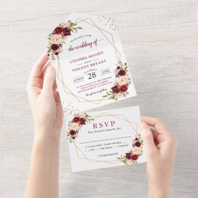 Burgundy Floral Geometric (No ENV needed) Wedding  All In One Invitation