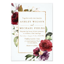 Burgundy Floral Gold Border Watercolor Wedding Invitation
