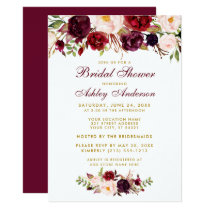 Burgundy Floral Gold Bridal Shower Invitation BB