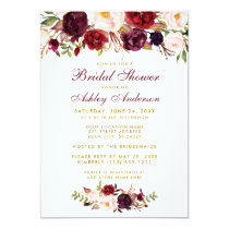Burgundy Floral Gold Bridal Shower Invitation BW