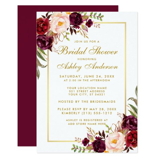 Burgundy Floral Gold Bridal Shower Invitation Gb