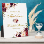"Burgundy Floral Gold Bridal Shower Welcome Plaque<br><div class=""desc"">Watercolor Burgundy Marsala Floral Gold Bridal Shower Welcome Plaque</div>"