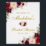 "Burgundy Floral Gold Bridal Shower Welcome Poster<br><div class=""desc"">Watercolor Burgundy Marsala Floral Gold Bridal Shower Welcome Poster</div>"