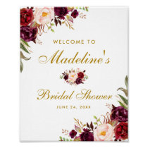 Burgundy Floral Gold Bridal Shower Welcome Poster