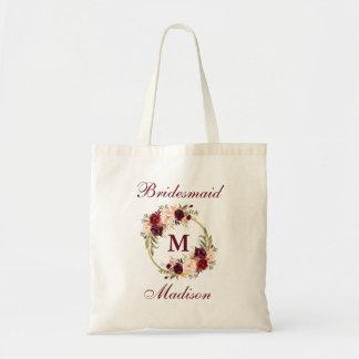 Burgundy Floral Gold Circle Monogram Bridesmaid Tote Bag