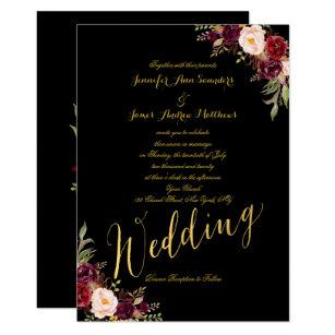Burgundy Black Wedding Invitations | Zazzle