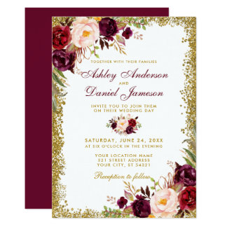Burgundy Floral Gold Glitter Wedding Invitation B