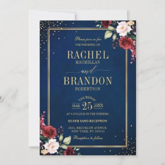 Rustic Navy Blue and Gold Wedding Invitations