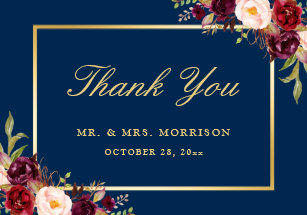 Navy Blue Thank You Cards Zazzle