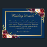 """Burgundy Floral Gold Navy Blue Wedding Details Card<br><div class=""""desc"""">================= ABOUT THIS DESIGN ================= Burgundy Floral Gold Navy Blue Wedding Details Card. (1) You are able to change the Background Color to Any Color by clicking the &quot;Customize&quot; button and then setting the background color. All text style, colors, sizes can also be modified to fit your needs. (2) If...</div>"""