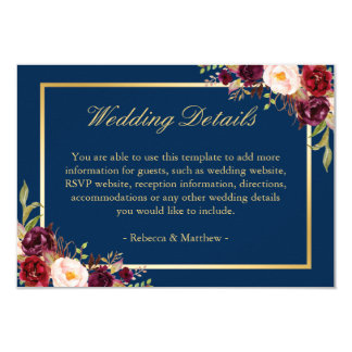 Burgundy Floral Gold Navy Blue Wedding Details Card