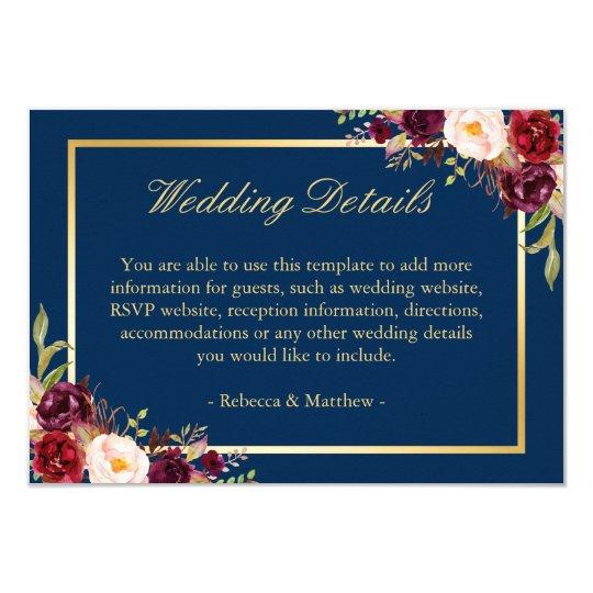Burgundy floral gold navy blue wedding details card zazzle burgundy floral gold navy blue wedding details card junglespirit Images