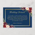 "Burgundy Floral Gold Navy Blue Wedding Details Enclosure Card<br><div class=""desc"">================= ABOUT THIS DESIGN ================= Burgundy Floral Gold Navy Blue Wedding Details Card. (1) You are able to change the Background Color to Any Color by clicking the &quot;Customize&quot; button and then setting the background color. All text style, colors, sizes can also be modified to fit your needs. (2) If...</div>"