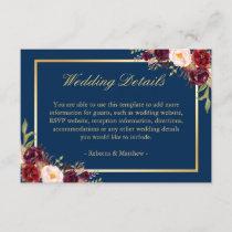 Burgundy Floral Gold Navy Blue Wedding Details Enclosure Card