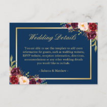 Burgundy Floral Gold Navy Blue Wedding Details Enclosure Card
