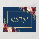 """Burgundy Floral Gold Navy Blue Wedding RSVP Reply Invitation Postcard<br><div class=""""desc"""">================= ABOUT THIS DESIGN ================= Burgundy Floral Gold Navy Blue Wedding RSVP Reply Postcard. (1) For further customization, please click the &quot;Customize&quot; button and use our design tool to modify this template. The background color and text styles are changeable. (2) If you need help or matching items, please contact me....</div>"""