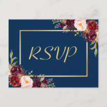 Burgundy Floral Gold Navy Blue Wedding RSVP Reply Invitation Postcard