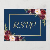Burgundy Floral Gold Navy Blue Wedding RSVP Reply Invitation Postcard