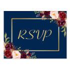 Burgundy Floral Gold Navy Blue Wedding RSVP Reply Postcard