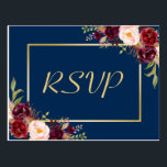"Burgundy Floral Gold Navy Blue Wedding RSVP Reply Postcard<br><div class=""desc"">================= ABOUT THIS DESIGN ================= Burgundy Floral Gold Navy Blue Wedding RSVP Reply Postcard. (1) For further customization, please click the &quot;Customize&quot; button and use our design tool to modify this template. The background color and text styles are changeable. (2) If you need help or matching items, please contact me....</div>"