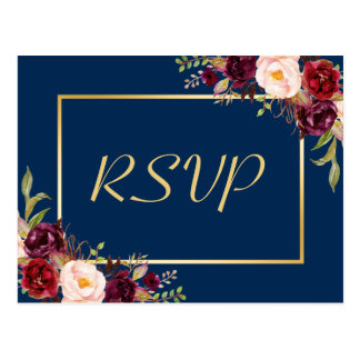 Burgundy Floral Gold Navy Blue Wedding RSVP Reply Postcard