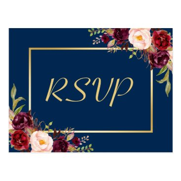 CardHunter Burgundy Floral Gold Navy Blue Wedding RSVP Reply Postcard