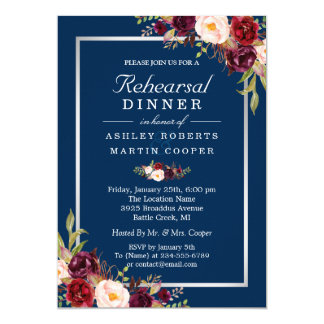 Burgundy Floral Gray Blue Wedding Rehearsal Dinner Card