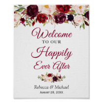 Burgundy Floral Happily Ever After Wedding Sign