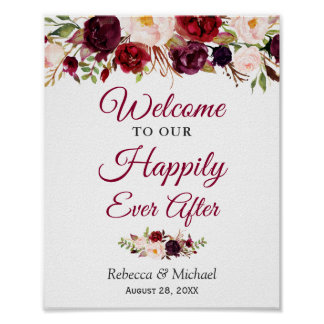 Burgundy Floral Happily Ever After Wedding Sign