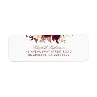 Burgundy Floral Label