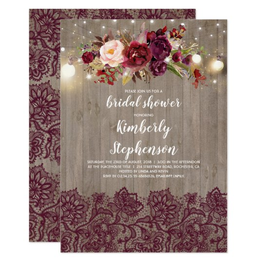 451a20178e5 Burgundy Floral Lace Rustic Bridal Shower Invitation