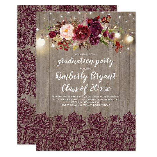 Rustic Burgundy Purple Floral Script Wedding Invitations: Graduation Party Luau Tropical Party Card