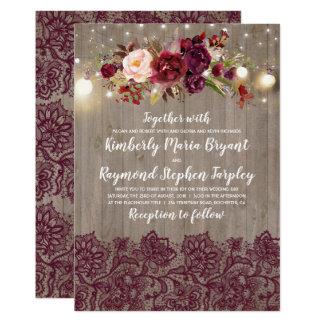 Burgundy Floral Lace Rustic Wedding Card