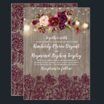 """Burgundy Floral Lace Rustic Wedding Invitation<br><div class=""""desc"""">Burgundy ( Marsala ) lace and flowers rustic string lights wedding invitations</div>"""