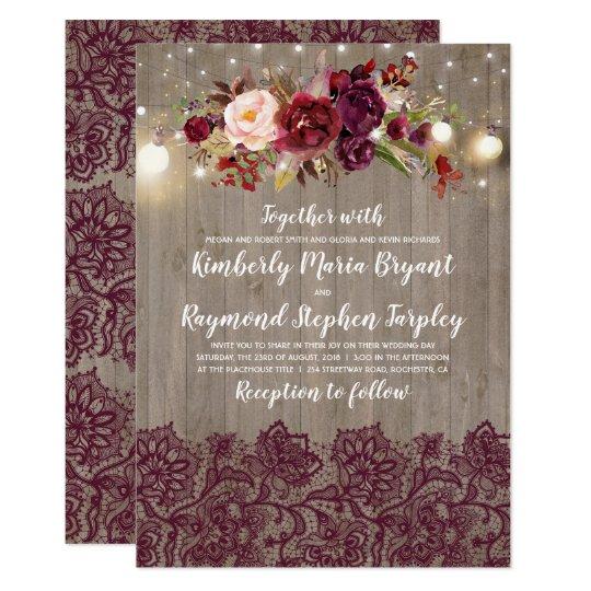 Rustic Burgundy Purple Floral Script Wedding Invitations: Burlap And Lace Wedding Invitations