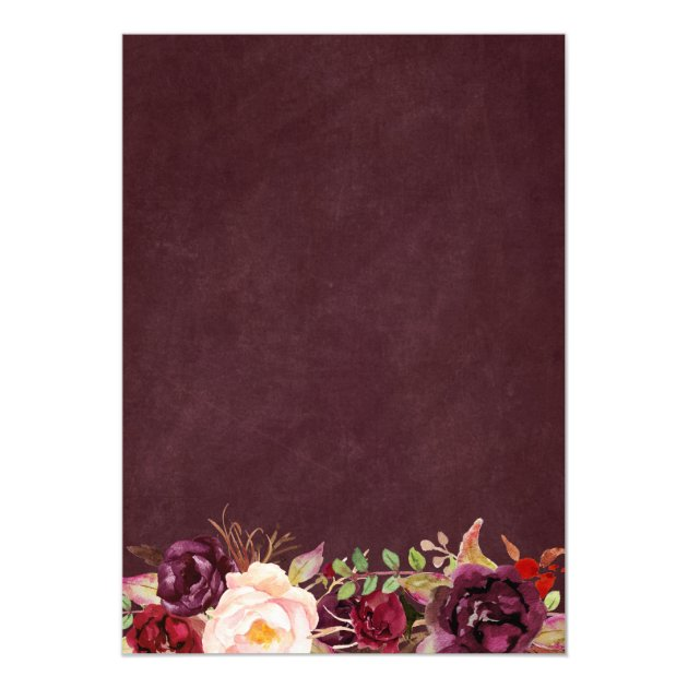 Burgundy Floral Lace String Lights Holiday Party Card (back side)