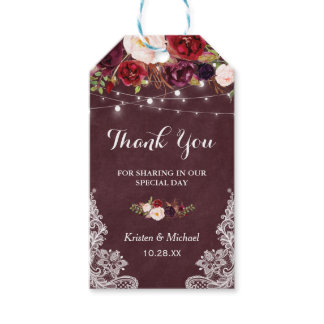 Burgundy Floral Lace Wedding Favor Thank You Gift Tags