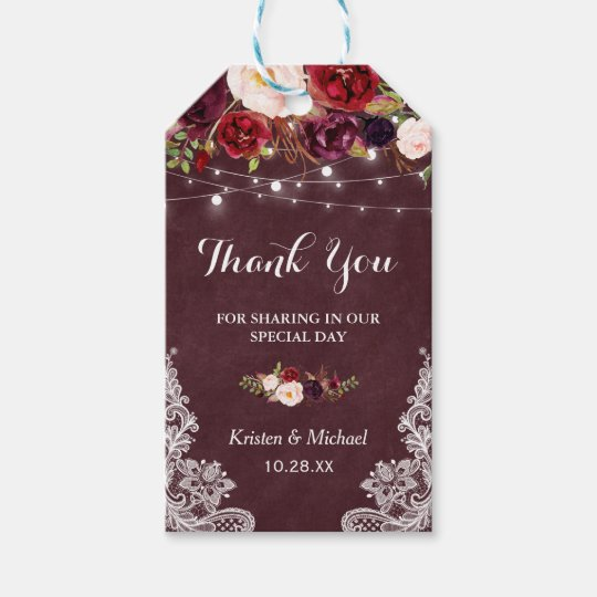 Wedding Thank You Gift Tags: Burgundy Floral Lace Wedding Favor Thank You Gift Tags