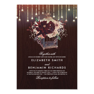 Burgundy Floral Lantern Lights Rustic Wood Wedding Card