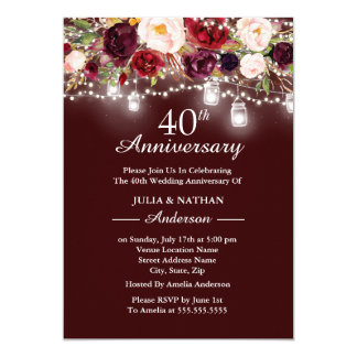 Burgundy Floral Lights 40th Wedding Anniversary Card