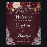 "Burgundy Floral Lights Lace Wedding Welcome Sign<br><div class=""desc"">Create your own Wedding Sign with this &quot;Burgundy Floral Lights Lace Wedding Welcome Poster&quot; template to match your wedding colors and style. This high-quality design is easy to personalize to be uniquely yours! (1) The default size is 8 x 10 inches, you can change it to any size. (2) For...</div>"