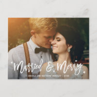 Burgundy Floral Married and Merry Christmas Photo Holiday Postcard