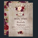 "Burgundy Floral Mason Jar Rustic Bridal Shower Card<br><div class=""desc"">Burgundy - Marsala flowers mason jar and string of lights rustic bridal shower invitations</div>"