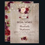 "Burgundy Floral Mason Jar Rustic Bridal Shower Invitation<br><div class=""desc"">Burgundy - Marsala flowers mason jar and string of lights rustic bridal shower invitations</div>"