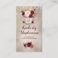 Burgundy Floral Mason Jar Rustic Country Business Card