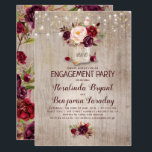 "Burgundy Floral Mason Jar Rustic Engagement Party Invitation<br><div class=""desc"">Burgundy - Marsala flowers mason jar and string of lights rustic engagement party invitations</div>"