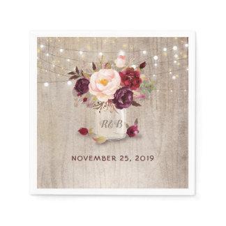 Burgundy Floral Mason Jar Rustic Paper Napkin