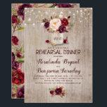 "Burgundy Floral Mason Jar Rustic Rehearsal Dinner Invitation<br><div class=""desc"">Burgundy - Marsala flowers mason jar and string of lights rustic rehearsal dinner invitations</div>"